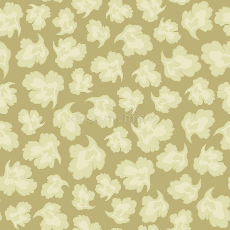 Modele o vetor sem emenda das pétalas leves da folha em um ornamento floral retro da natureza da cor do fundo do sepia ilustração do vetor