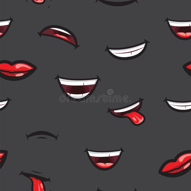 Modele os bordos de sorriso, a boca com língua, o sorriso dentado branco e a expressão triste Bordos e expressar da boca diferent ilustração royalty free