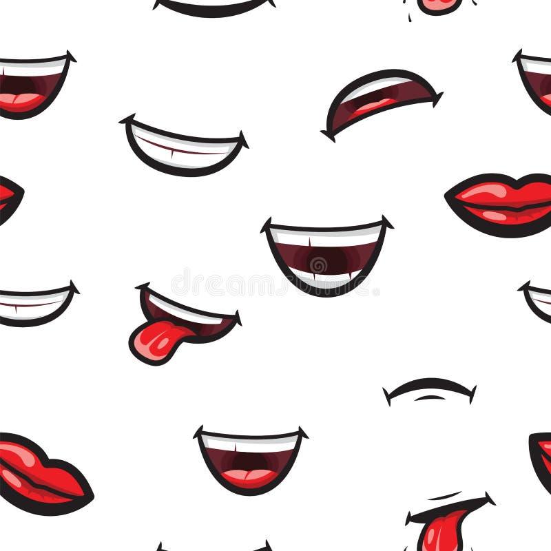 Modele os bordos de sorriso, a boca com língua, o sorriso dentado branco e a expressão triste Bordos e expressar da boca diferent ilustração do vetor