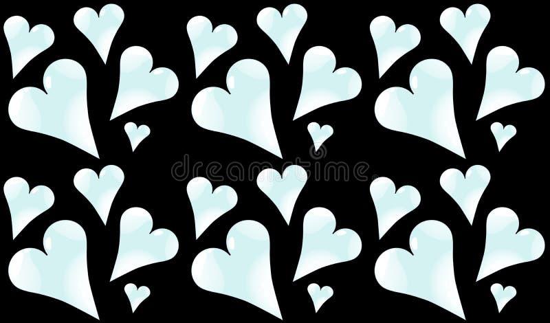 Modele sem emenda do frio, luz - azul, corações brilhantes ao dia do Valentim do St em um fundo preto ilustração stock