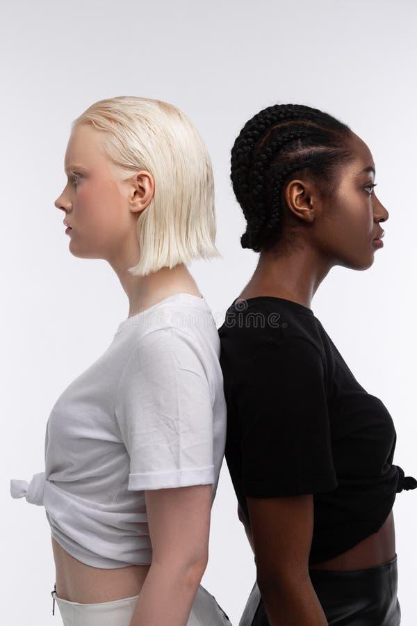 Modele z białą i ciemną skórą pozuje wpólnie dla różnorodność artykułu zdjęcie stock