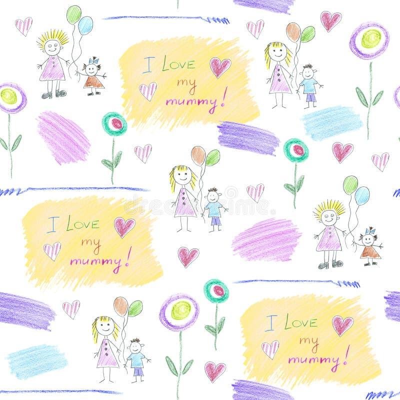 Modelez des dessins du ` s d'enfants pour le jour du ` s de mère illustration de vecteur
