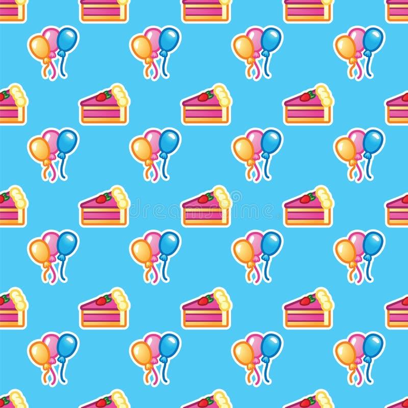 Modelez le morceau de gâteau pour le ballon coloré de partyand d'anniversaire de célébration Joyeux anniversaire, événement, célé illustration stock