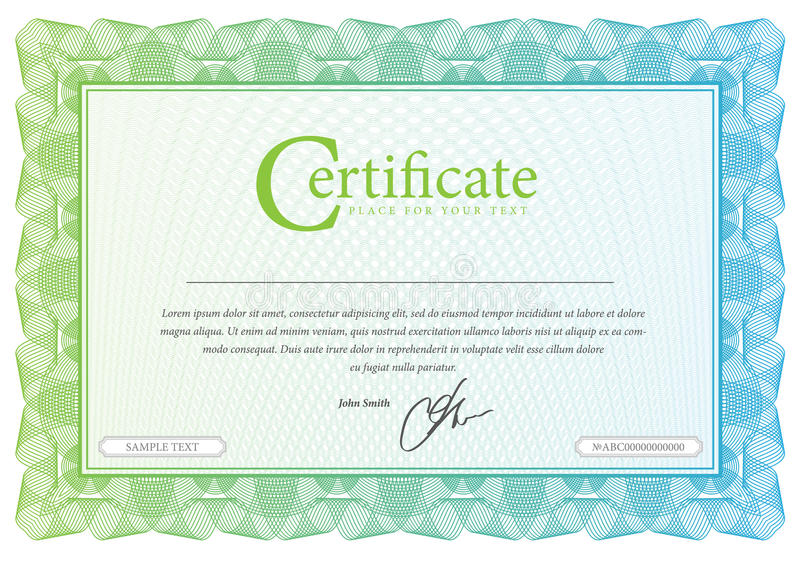 Modelez qui est utilisé en devise et diplômes illustration de vecteur