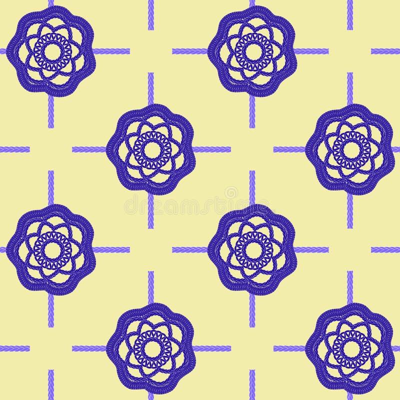Modelez sans couture des éléments tricotés sur un fond beige Pour le tissu, papier illustration de vecteur