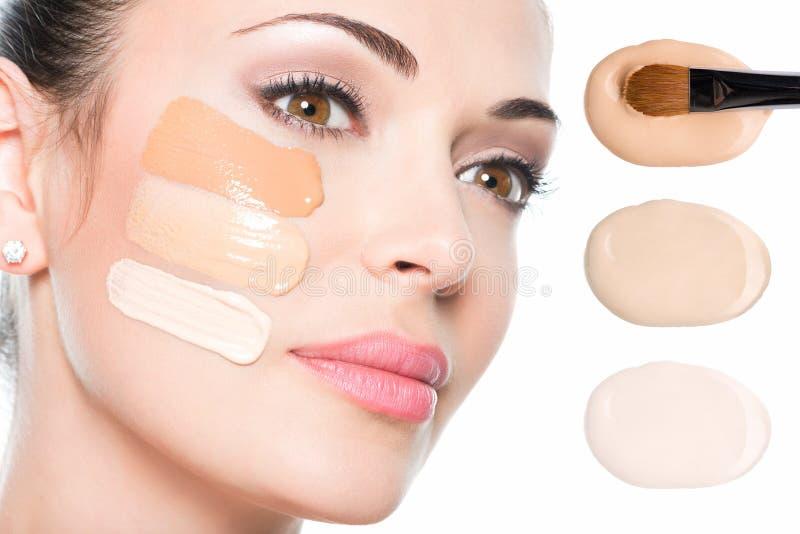 Modelgezicht van mooie vrouw met stichting op huid stock afbeelding