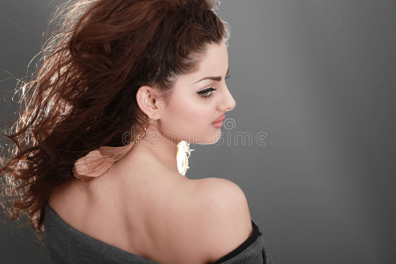 Modeling. Picture of a young and beautiful with back lighting royalty free stock photo