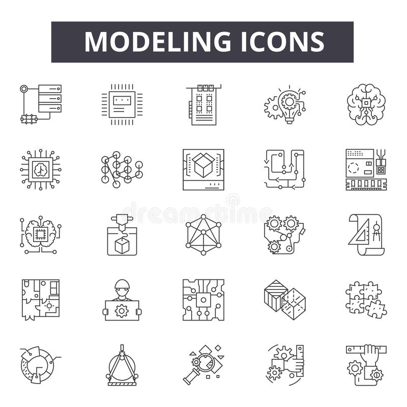 Modeling concept line icons, signs, vector set, linear concept, outline illustration. Modeling concept line icons, signs, vector set, outline concept, linear stock photography