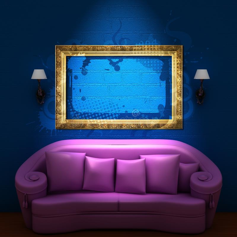 Modeling a purple sofa blue wall design of the living room.  stock illustration