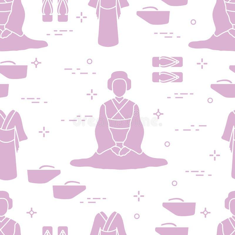 modell Asiatisk kvinna, japanska kläder, skor royaltyfri illustrationer