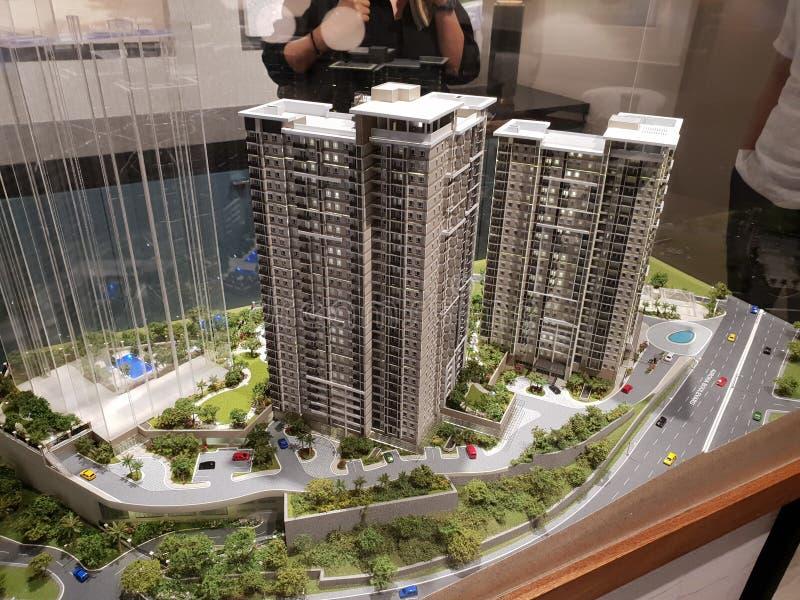 Modell av andelshusar i Rockwell, Makati stadsFilippinerna royaltyfri fotografi