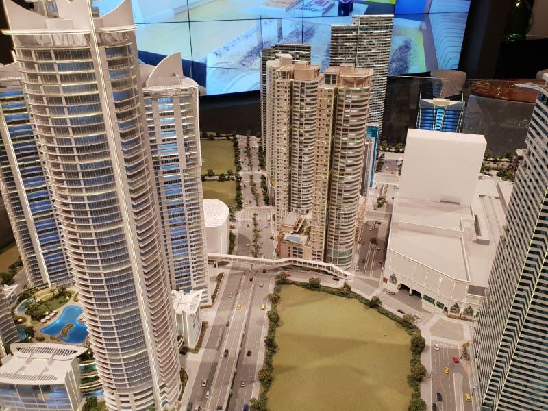 Modell av andelslägenheten, kontor, galleriabyggnader i Rockwell, Makati stadsFilippinerna royaltyfri fotografi