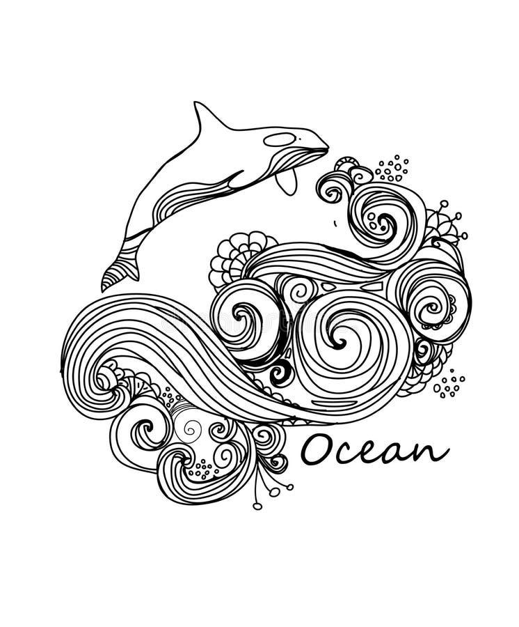 Modell av att virvla runt för havvågor och ett val royaltyfri illustrationer
