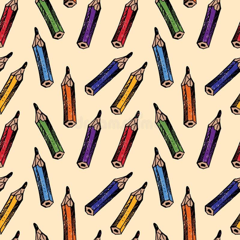 Modell av blyertspennor royaltyfri illustrationer