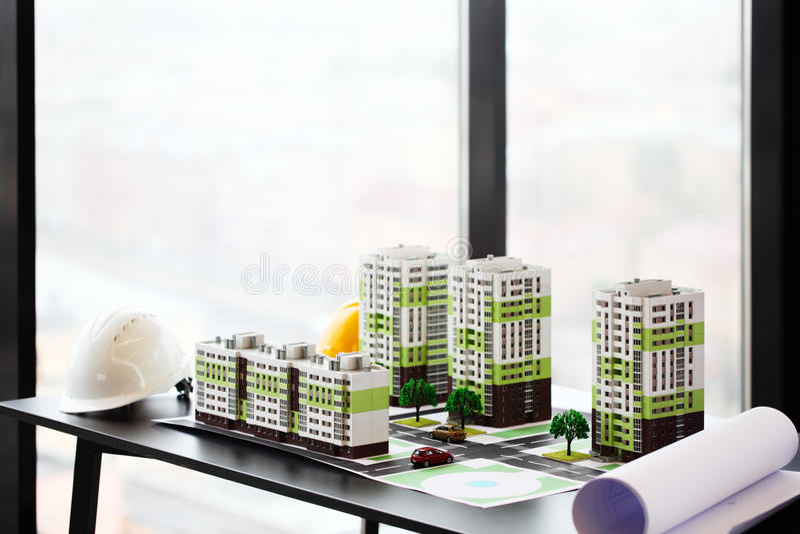 Modell av den bostads- fjärdedelen royaltyfria foton