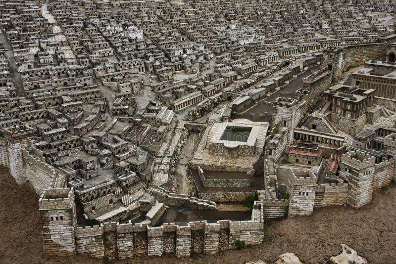 Modell av den sydliga delen av den gamla staden med en vattenreservoi royaltyfri foto