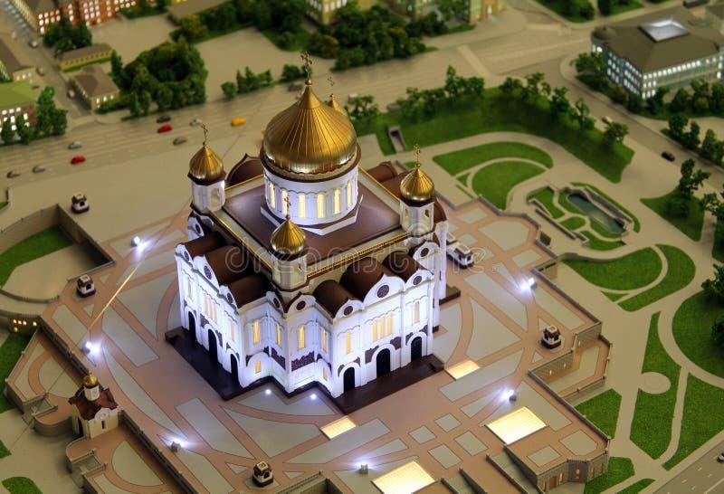 Modell av domkyrkan av Kristus frälsaren, del av den jätte- arkitektoniska modellen av Moskva royaltyfri bild