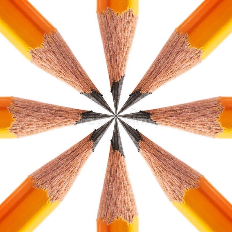 Modell av en vässad blyertspenna arkivbilder