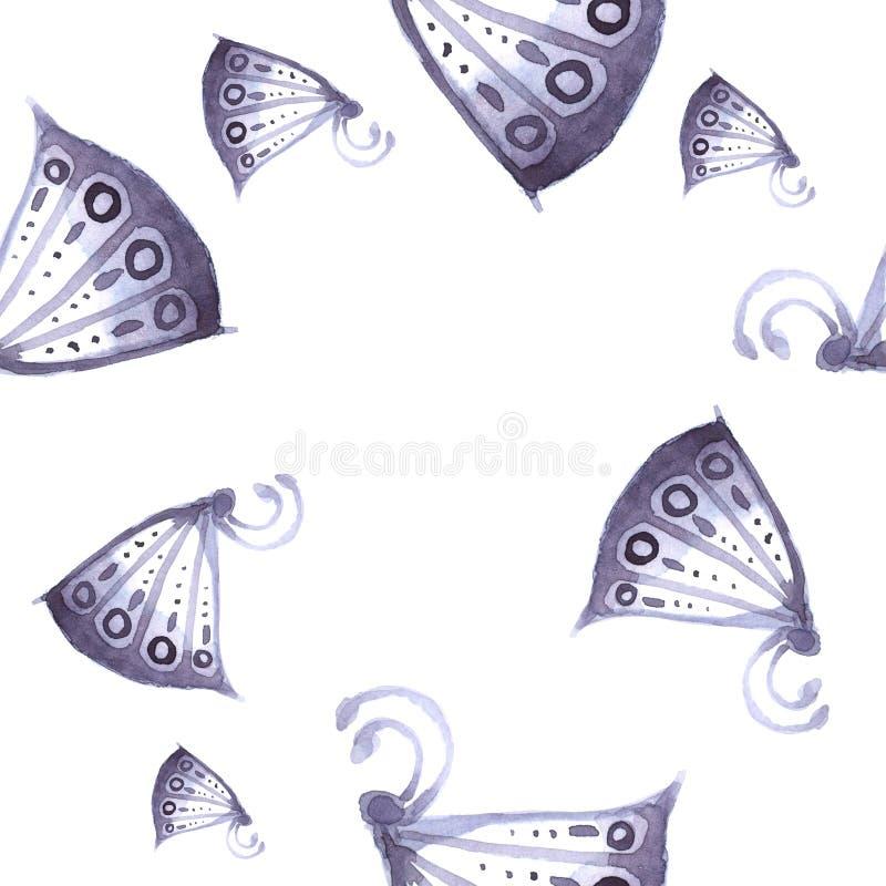 Modell av fjärilar och blommor av blått som är sömlösa arkivfoto