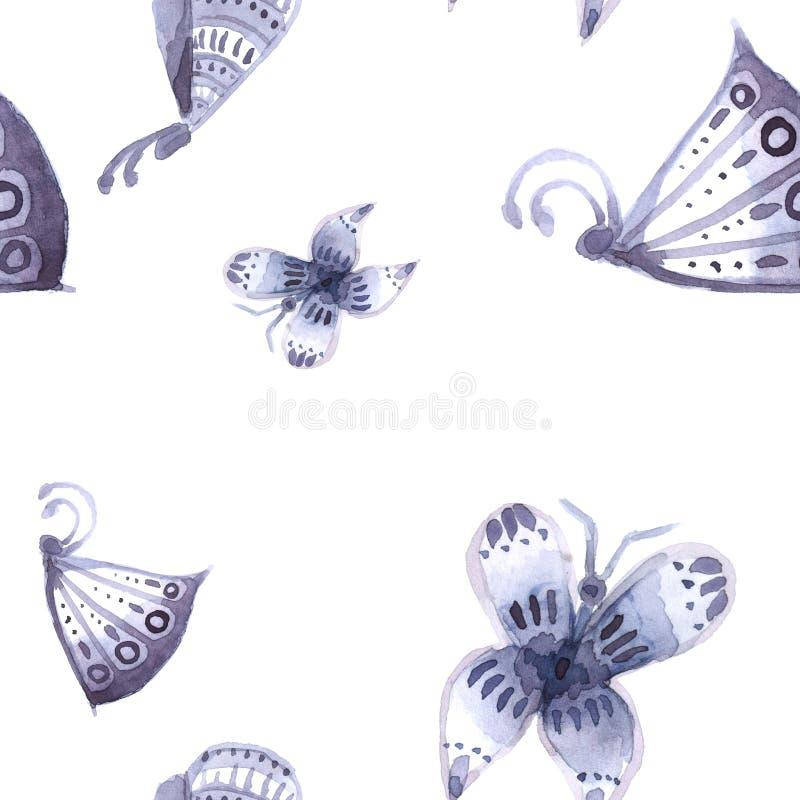 Modell av fjärilar och blommor av blått som är sömlösa arkivfoton