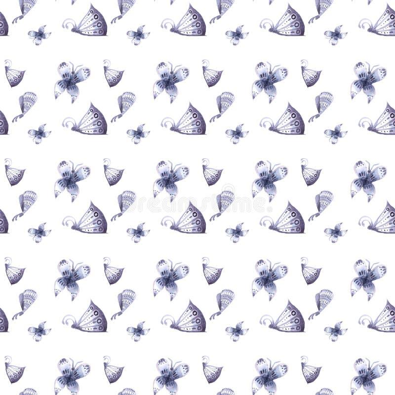 Modell av fjärilar och blommor av blått som är sömlösa royaltyfri foto