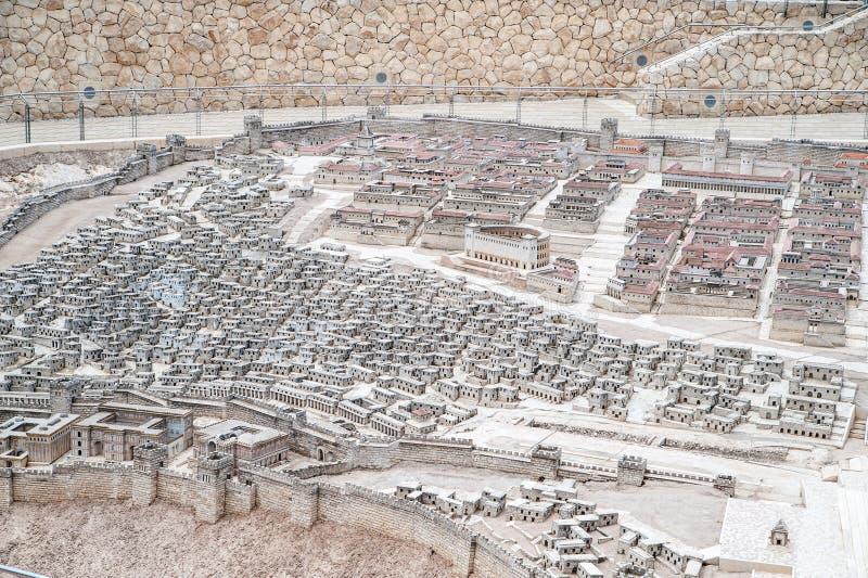 Modell av forntida Jerusalem royaltyfri bild