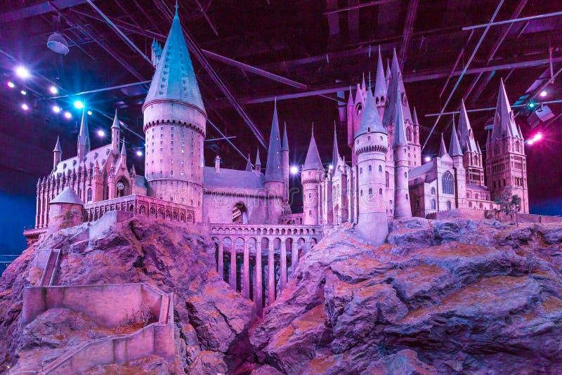 Modell av Hogwarts på Warner Bros Studion turnerar - danande av Harry Potter arkivfoto