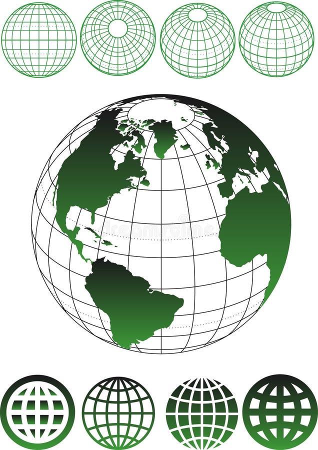 Modell av jord vektor illustrationer