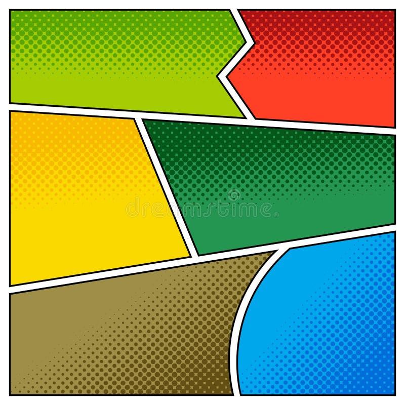 Modell av komiska bakgrunder med rastrerade effekter vektor illustrationer