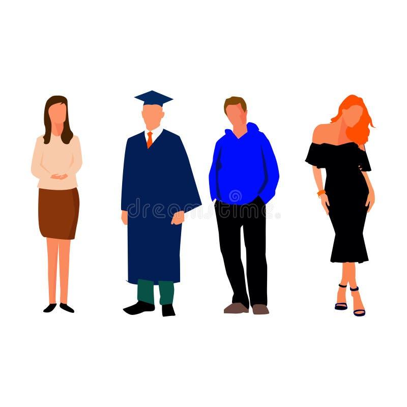 Modell av kvinnor och mannen Student vektor stock illustrationer