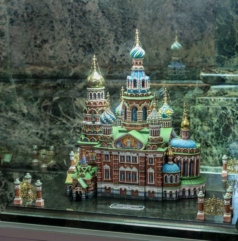 Modell av kyrkan av frälsaren på spillt blod, Ryssland fotografering för bildbyråer