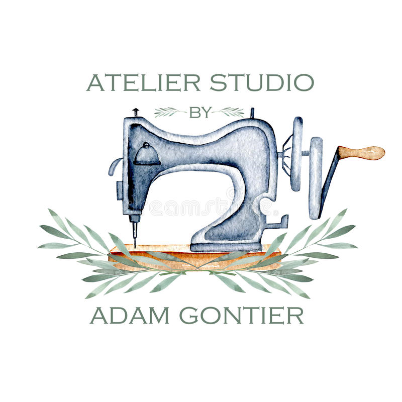 Modell av logoen med den retro symaskinen för vattenfärg och blom- beståndsdelar royaltyfri illustrationer