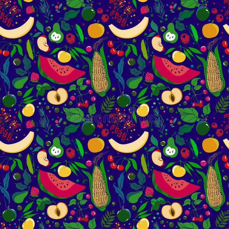 Modell av massor av ljusa saftiga frukter på en vit bakgrund vektor illustrationer