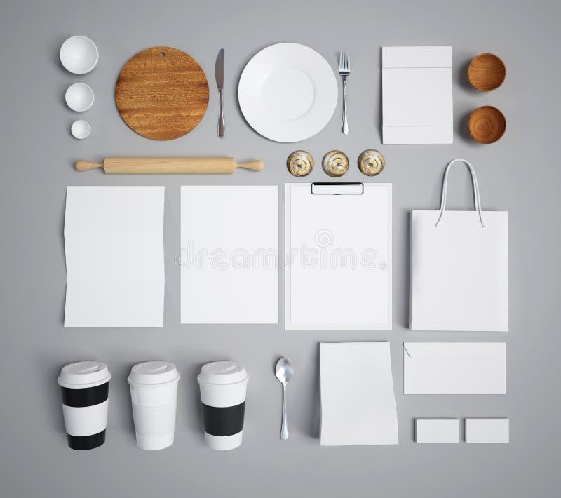 Modell av mat och kök 3d royaltyfri illustrationer