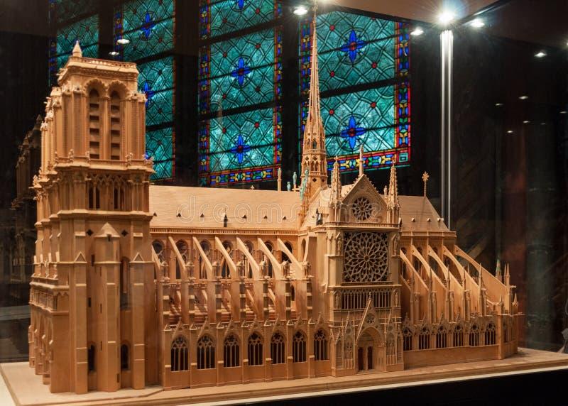 Modell av Notre Dame. Paris royaltyfri fotografi
