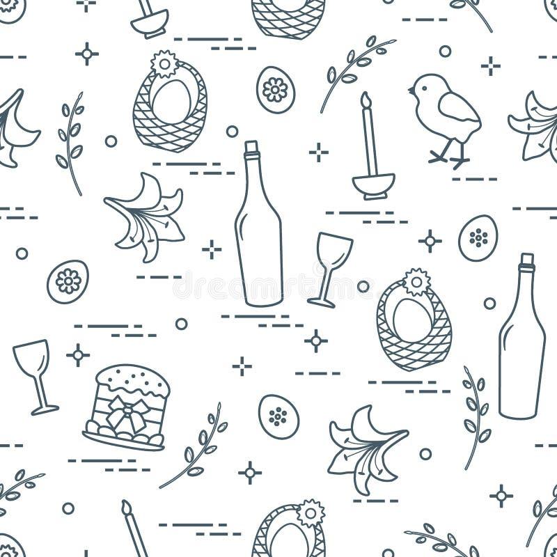 Modell av påsksymboler: Påskkaka, fågelunge, lilja, korgar, eg. royaltyfri illustrationer
