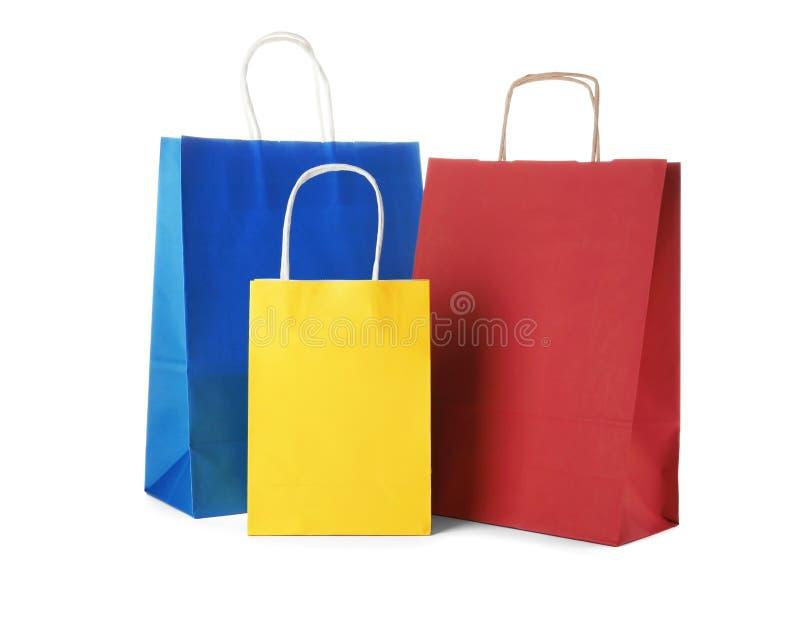Modell av pappers- shoppingpåsar royaltyfria foton