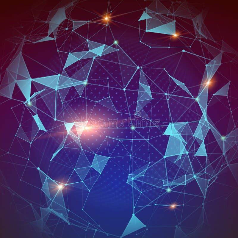 Modell av plexusen, globalt nätverk Modern abstrakt geometrisk bakgrund för informationsteknikrengöringsduk om begrepp bred värld stock illustrationer