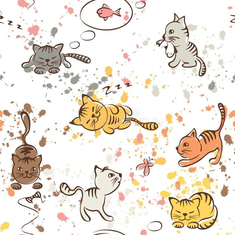 Modell av roliga katter som är sömlös stock illustrationer