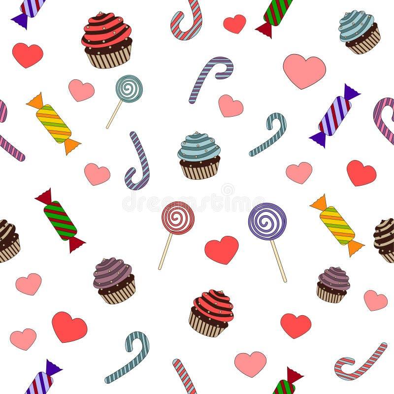 Modell av sötsaker och godisar arkivfoto