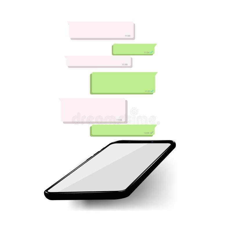 Modell av telefonen med den mobila budbäraren på skärmen som inspireras av WhatsApp och andra liknande apps modern design vektor illustrationer