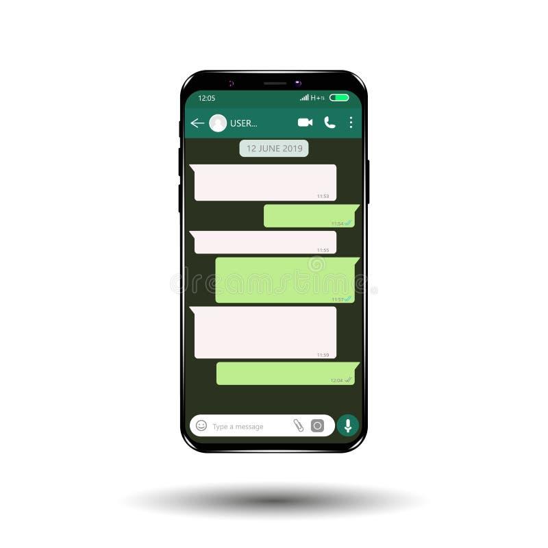 Modell av telefonen med den mobila budbäraren på skärmen som inspireras av WhatsApp och andra liknande apps modern design stock illustrationer