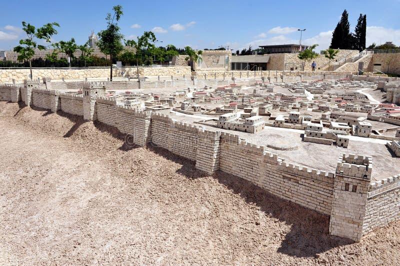 Modell av tempelmonteringen i det Israel museet Jerusalem royaltyfri bild