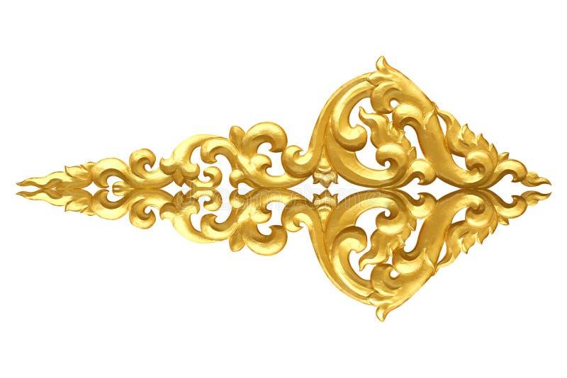 Modell av trä att snida guld- målarfärg för garnering som isoleras på vit royaltyfria foton