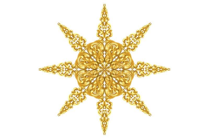 Modell av trä att snida guld- målarfärg för garnering som isoleras på vit bakgrund arkivfoton