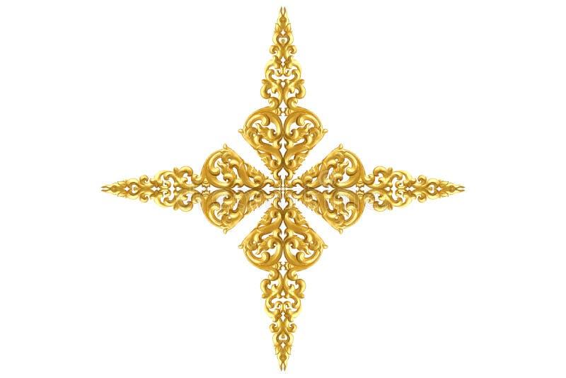 Modell av trä att snida guld- målarfärg för garnering som isoleras på vit bakgrund royaltyfria bilder