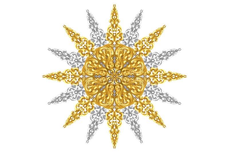 Modell av trä att snida guld- målarfärg för garnering som isoleras på vit bakgrund royaltyfri bild