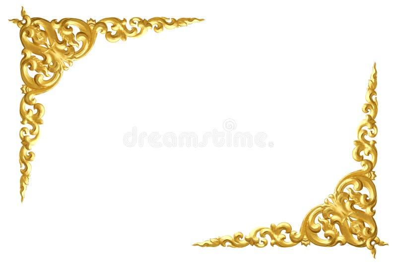 Modell av trä att snida guld- målarfärg för garnering som isoleras på vit arkivfoto
