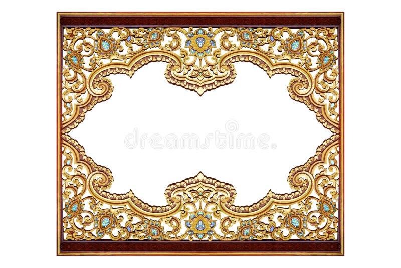 Modell av tr? att snida guld- m?larf?rg f?r garnering som isoleras p? vit bakgrund arkivbild
