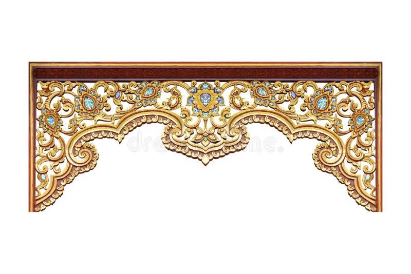 Modell av tr? att snida guld- m?larf?rg f?r garnering som isoleras p? vit bakgrund fotografering för bildbyråer